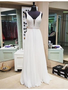 A-line V-neck Sleeveless Floor Length White Prom Dress with Beading