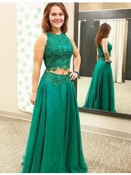 Two Piece A-line Round Neck Floor Length Green Prom Dress with Lace