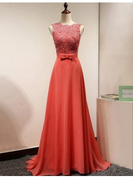 A-line Scalloped-Edge Sweep Train Coral Backless Prom Dress with Lace Bowknot
