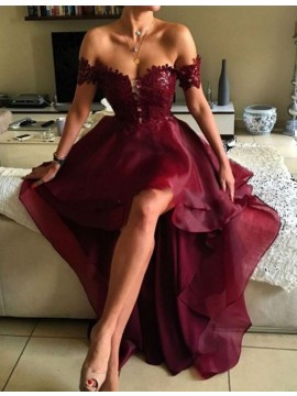 High Low Off the Shoulder Burgundy Backless Prom Dress with Lace
