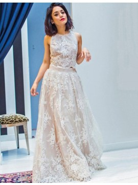 A-line Round Neck Sleeveless Floor Length Light Champagne Lace Prom Dress