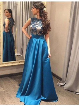 A-line Round Neck Sleeveless Floor Length Blue Prom Dress with Lace Ruched