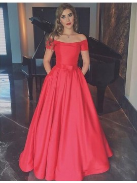 A-line Off the Shoulder Short Sleeves Floor Length Red Prom Dress with Bowknot