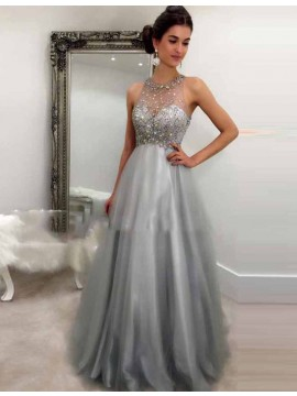 A-line Crew Neck Sleeveless Floor Length Grey Prom Dress with Beading