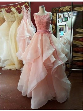 A-line Crew Neck Sweep Train Tiered Pink Backless Prom Dress with Lace Sash