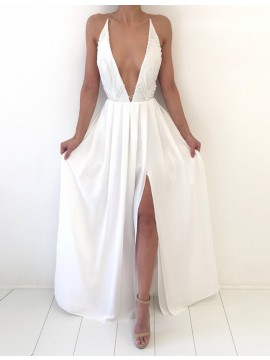 A-line Deep V-neck Split White Prom Dress with Lace Pleats