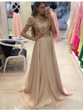 A-line Bateau Cap Sleeves Apricot Prom Dress with Beading Sequins
