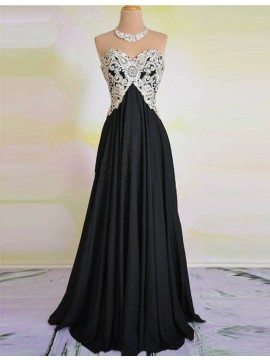 A-line Sweetheart Lace-up Sweep Train Black Prom Dress with Beading Lace
