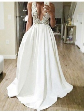 A-line Deep V-neck Floor Length White Prom Dress with Beading Lace