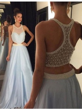 A-line Round Neck Floor Length Lavdender Prom Dress with Beading Pearls