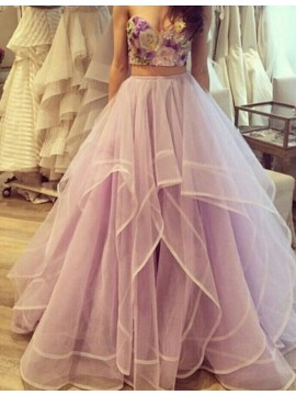 A-line Sweetheart Floor Length Lavender Prom Dress with Appliques