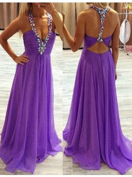 A-line V-neck Open Back Sweep Train Lilac Prom Dress with Beading Ruched