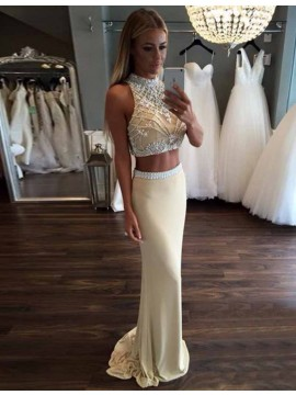 Two Piece Mermaid High Neck Beaded Elegant Apricot Prom Dress