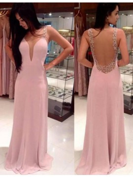 Sheath Deep V-neck Sweep Train Blush Backless Prom Dress with Beading