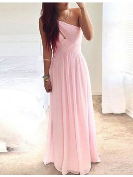A-line One Shoulder Pink Ruched Simple Prom/Bridesmaid Dress