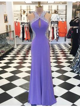 Sheath V-neck Open Back Keyhole Long Lilac Prom Dress with Beading