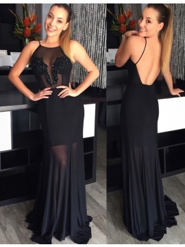 Sheath Crew Neck Sweep Train Backless Black Prom Dress with Beading