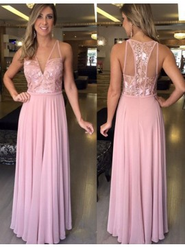 A-line V-neck Sleeveless Floor Length Blush Prom Dress with Lace