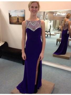 Sheath Bateau Sweep Train Split Royal Blue Prom Dress with Beading