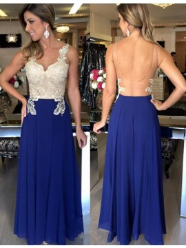 A-line Scoop Sleeveless Long Royal Blue Backless Prom Dress with Lace Appliques