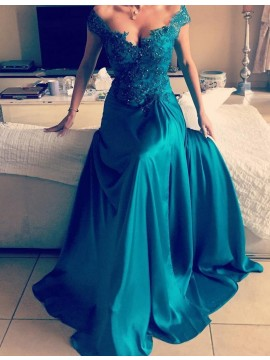 A-Line Jade Off the Shoulder Slit Legs Beaded Prom Dress with Appliques