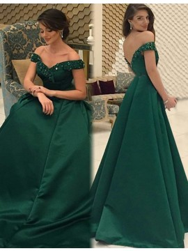 Off the Shoulder Dark Green Long Backless Prom Dress with Beading