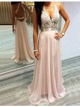 A-line Deep V-neck Open Back Pearl Pink Prom Dress with Beading
