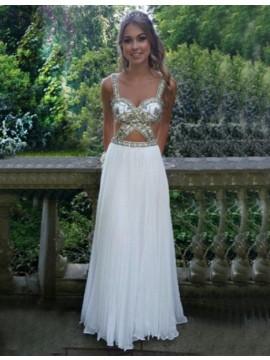 White Scoop Sleeveless Floor-length Backless Prom Dress with Beading