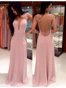 Blush Deep V-neck Sleeveless Backless Long Sheath Prom Dress with Beading