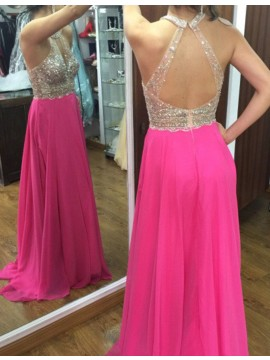 Rose Pink Jewel Open Back A-line Long Prom Dress with Beading Sequins