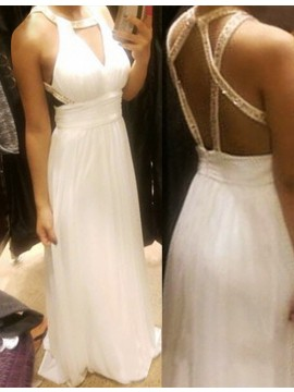White Round Neck Keyhole Open Back A-line Long Prom Dress with Sequins