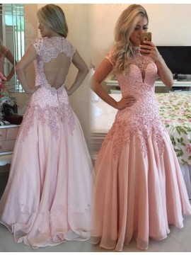 A-Line Short Sleeves Open Back Beaded Pink Prom Dress with Appliques