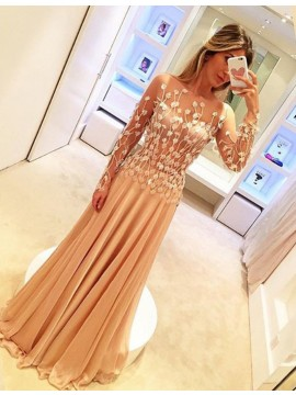 A-Line Long Sheer Sleeves Sweep Train Prom Dress with Appliques