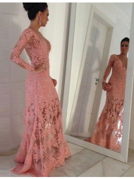 Pink Scoop Long Sleeves Illusion Back Lace Sheath Prom Dress with Beading