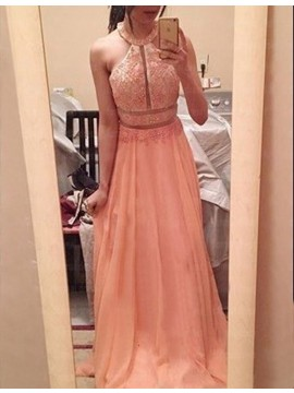 Peach Halter Sleeveless A-line Backless Long Prom Dress with Beading Lace