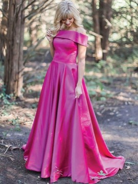 Fuchsia Long Off the Shoulder Prom Dress with Pockets