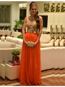 Orange Round Neck Sleeveless A-line Long Prom Dress with Beading Belt