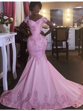 Pink Scoop Short Sleeves Sweep Train Mermaid Prom Dress with Beaing Lace