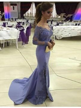 Mermaid Lavender Scoop Long Sleeves Split Prom Dress with Beading Lace
