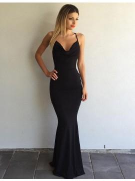 Mermaid Scoop Sweep Train Criss-Cross Straps Sexy Black Prom Dress