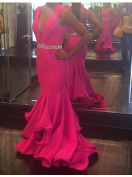 Fuchsia Deep V-neck Open Back Long Mermaid Prom Dress with Beading Ruffles