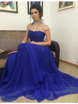 Royal Blue High Neck Open Back A-line Long Prom Dress with Beading