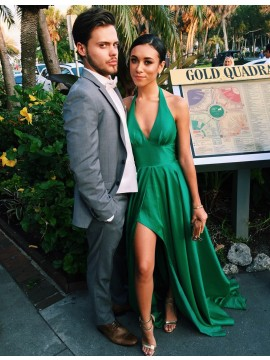 Green Deep V-neck Split Sweep Train A-line Long Prom Dress with Pleats