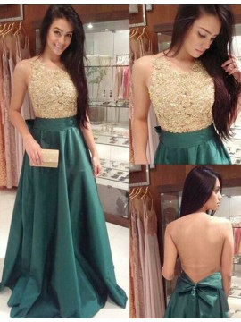 Hunter Round Neck Illusion Back Long Prom Dress with Beading Lace Bowknot