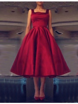 Burgundy Square Neck Tea-length Backless Prom Dress with Bowknot
