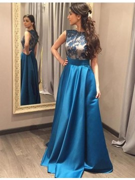 Sky Blue Jewel Sleeveless Floor-length Prom Dress with Lace Pleats