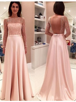 Pink Bateau Long Sleeves Backless Prom Dress with Lace Bowknot