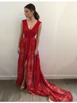 A-Line V-neck Court Train Pleated Backless Red Prom Dress with Split