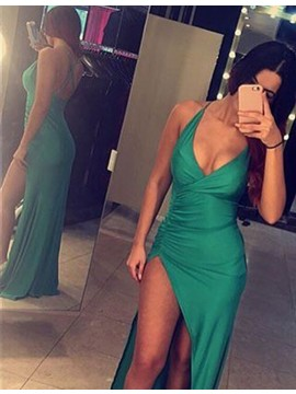 Sexy Deep V-neck Sheath Floor-length Green Ruched Prom Dress with Split