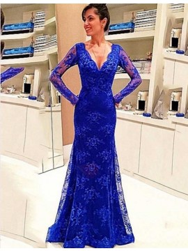 Mermaid V-neck Long Sleeves Long Royal Blue Lace Prom Dress with Appliques